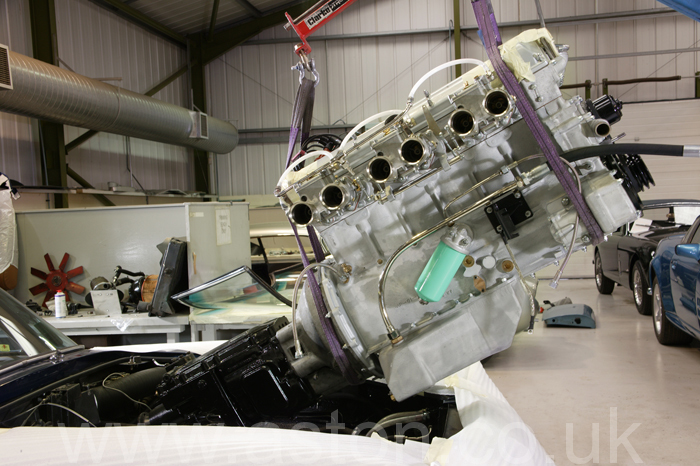 Engine being installed - The steering system will already have been fitted